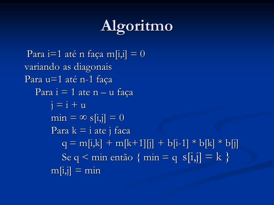 Algoritmo Para i=1 até n faça m[i,i] = 0 variando as diagonais